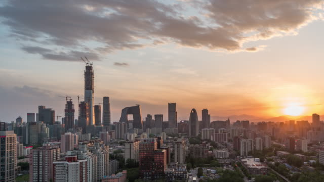 t/l td downtown beijing and urban skyline, day / beijing, china - pechino video stock e b–roll
