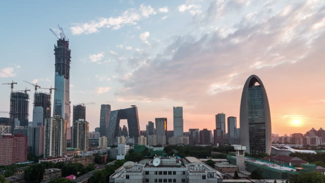 t/l ws ha zo downtown beijing at sunset / beijing, china - international landmark stock videos & royalty-free footage