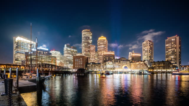 t/l ws downtown boston at night / boston, usa - boston massachusetts stock videos & royalty-free footage