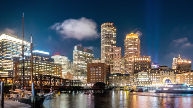 t/l ws pan downtown boston at night / boston, usa - boston massachusetts stock videos & royalty-free footage