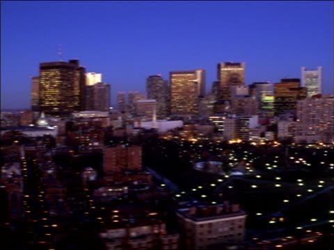 downtown boston skyscrapers tower near massachusetts bay. - boston massachusetts stock videos & royalty-free footage