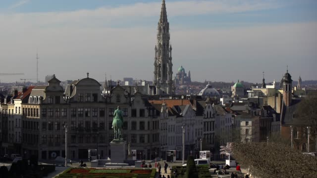 downtown brussels, belgium cityscape - brussels capital region stock videos & royalty-free footage