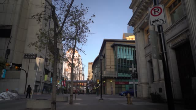 downtown city street in calgary along stephen avenue - downtown stock videos & royalty-free footage