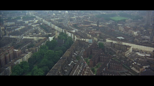 1966 aerial ws downtown city view  / london, england - suburban stock videos & royalty-free footage