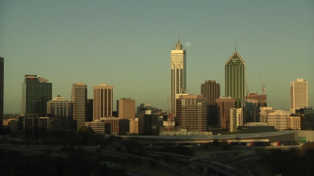 WS PAN Downtown cityscape at sunset / Perth, Western Australia, Australia