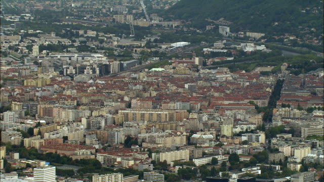 aerial ws downtown cityscape / grenoble, france - grenoble stock-videos und b-roll-filmmaterial