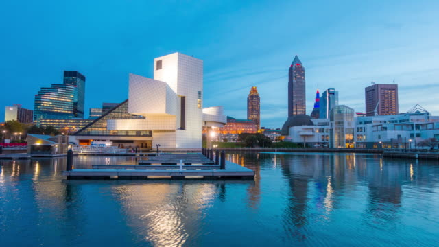 downtown cleveland skyline from the lakefront in ohio usa - cleveland ohio stock videos and b-roll footage