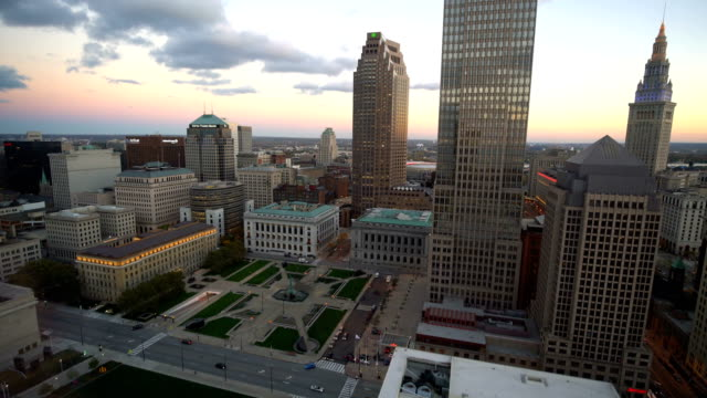 downtown cleveland skyline in ohio, united states - ohio stock videos & royalty-free footage