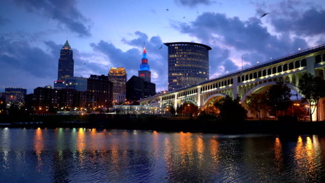 downtown cleveland skyline in ohio, united states - cleveland ohio stock videos & royalty-free footage