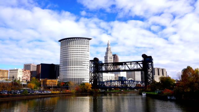 downtown cleveland skyline in ohio - cleveland ohio stock videos & royalty-free footage