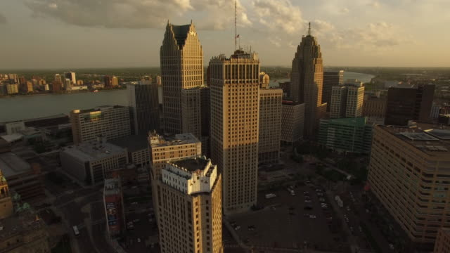 Downtown Detroit Aerial Rise