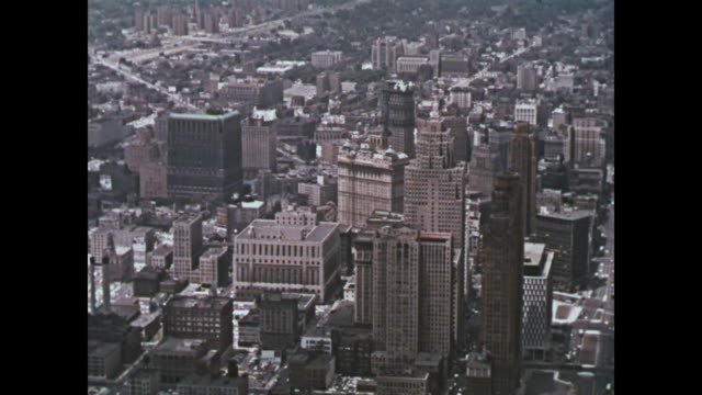 1959 downtown detroit aerial shots - downtown stock videos & royalty-free footage