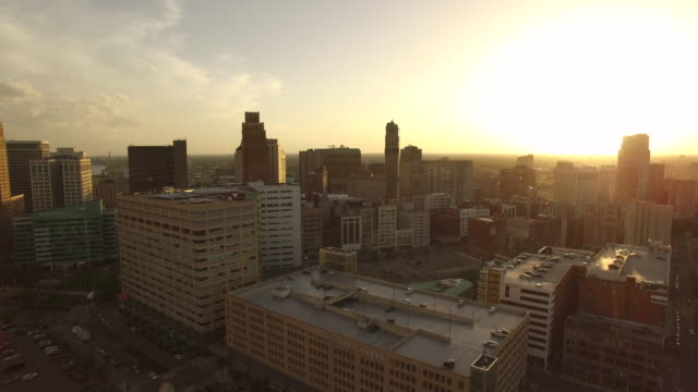Downtown Detroit Aerial Spin