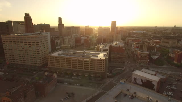 Downtown Detroit Aerial Sunset