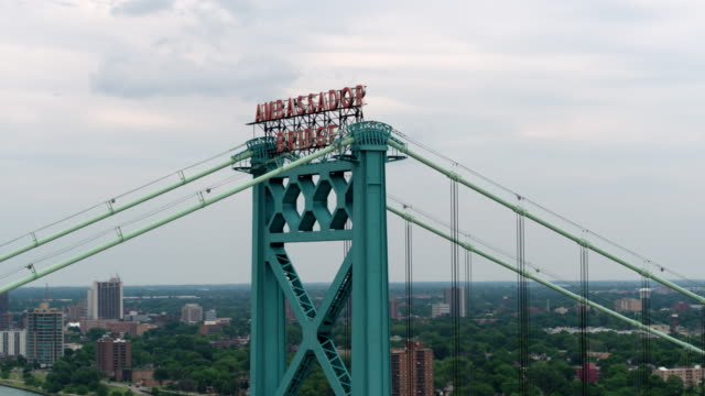 downtown detroit ambassador bridge aerial - detroit michigan stock videos & royalty-free footage