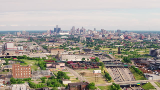 downtown detroit michigan aerial - detroit michigan stock videos & royalty-free footage