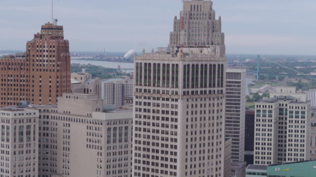 Downtown Detroit Michigan Aerial