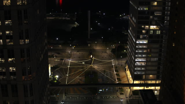 Downtown Detroit Michigan Night Aerial