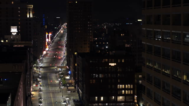 downtown detroit michigan night aerial - detroit michigan stock videos & royalty-free footage