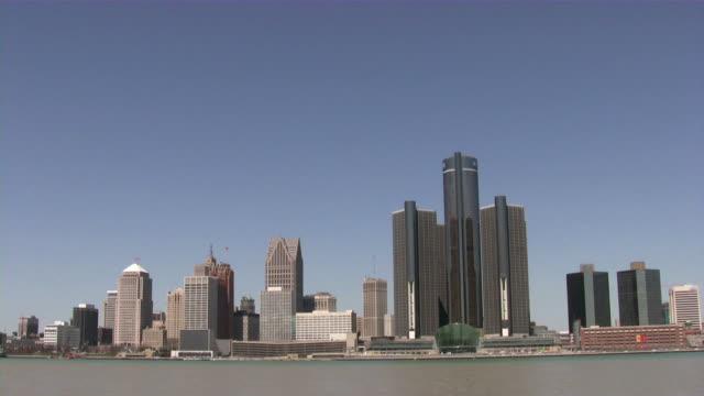 Der Innenstadt von Detroit, Michigan, USA. Stadt. Die Skyline. Blick von Windsor, Kanada.