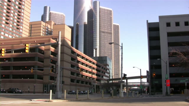 downtown detroit, michigan, usa. urban view. - detroit michigan stock videos and b-roll footage