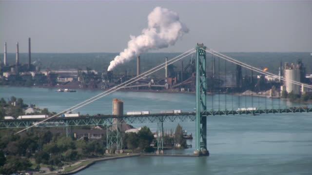 downtown detroit, michigan, usa. urban view. - detroit michigan stock videos & royalty-free footage