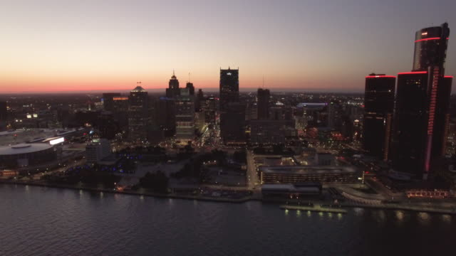 Downtown Detroit River Aerial