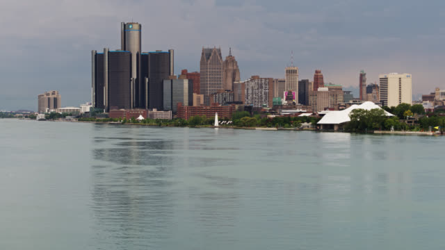 downtown detroit skyline - drone shot - detroit michigan stock videos & royalty-free footage
