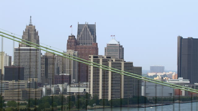 Downtown Detroit waterfront and suspension bridge.