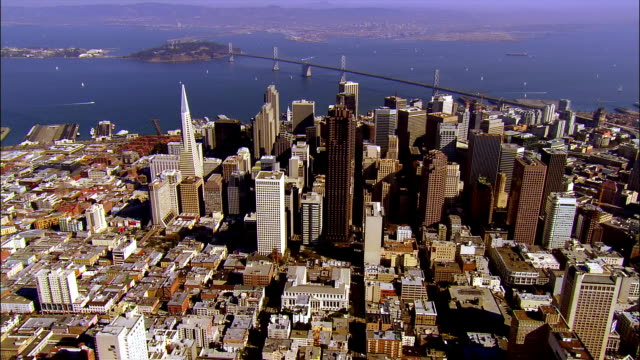 AERIAL, Downtown district and Treasure Island, San Francisco, California, USA