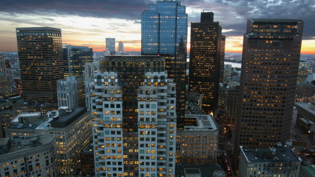 T/L MS HA Downtown district, day to night, Boston, Massachusetts, USA