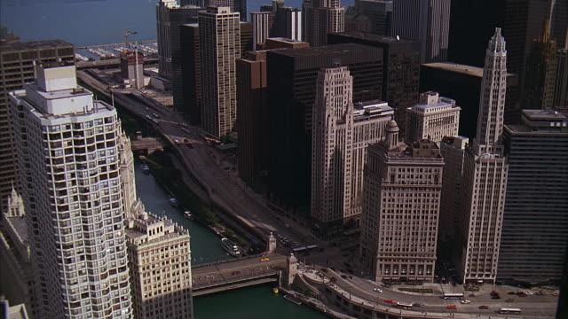 ms, ha, downtown district, michigan avenue bridge and wrigley building, chicago, illinois, usa - michigan avenue bridge stock videos and b-roll footage