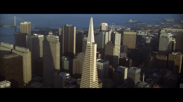 aerial downtown district, san francisco, california, usa - レターボックス点の映像素材/bロール
