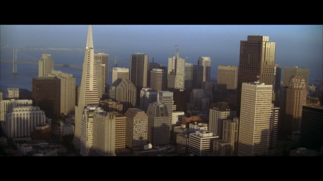 aerial downtown district, san francisco, california, usa - letterbox format stock videos & royalty-free footage