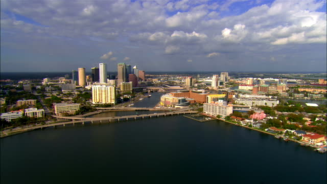 aerial, downtown district, tampa, florida, usa - tampa stock videos & royalty-free footage
