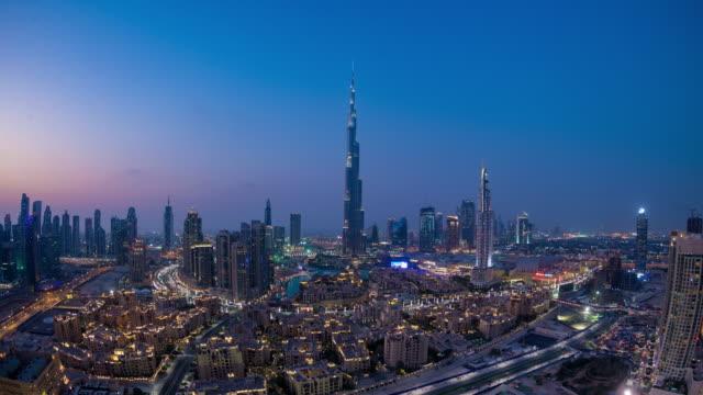 downtown dubai, nightfall - burj khalifa stock videos & royalty-free footage