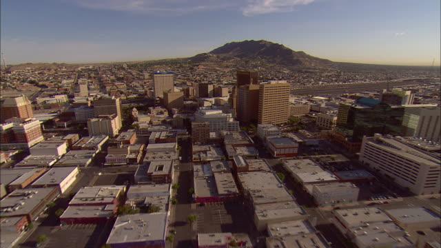 AERIAL Downtown El Paso, Texas, USA