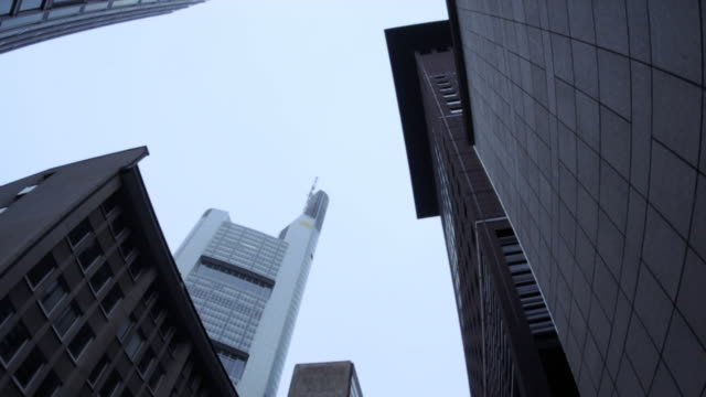 downtown frankfurt, financial center, wide-angle panning (hd720p) - dresdner bank stock videos and b-roll footage