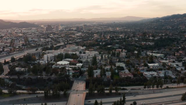 downtown glendale and 2 freeway - drone shot - glendale california stock videos & royalty-free footage