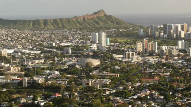 downtown honolulu hawaii and waikiki cityscape - honolulu stock videos and b-roll footage