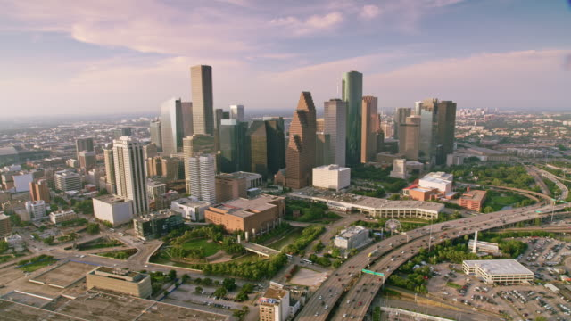 aerial downtown houston, tx - downtown stock videos & royalty-free footage