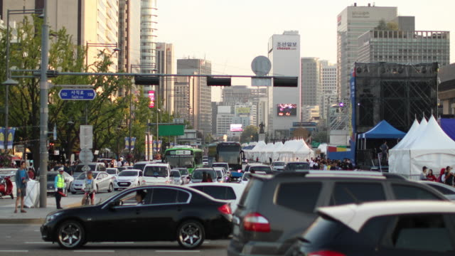downtown in seoul - korea stock videos & royalty-free footage