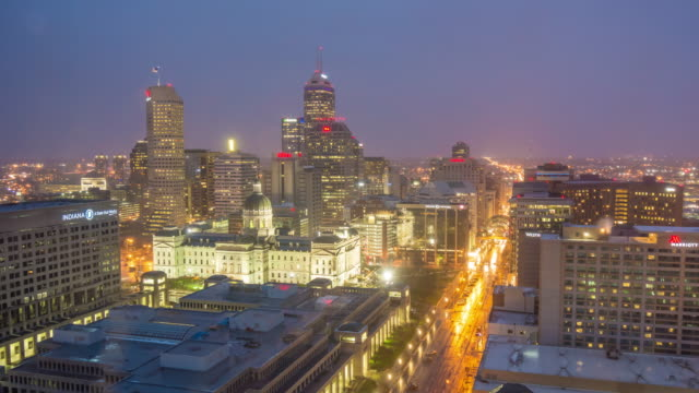 downtown indianapolis skyline  in usa - indiana stock videos & royalty-free footage