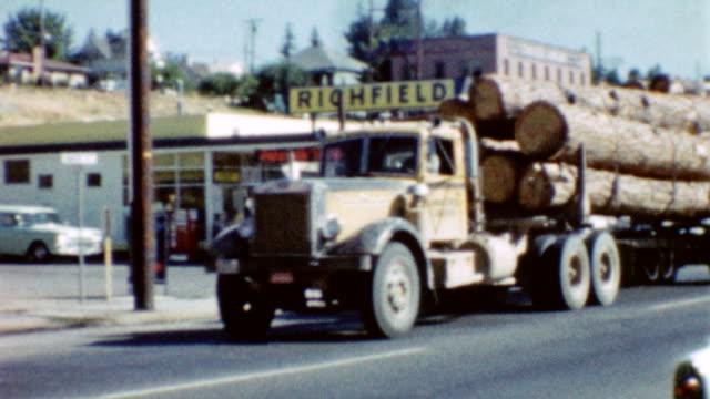 downtown kalamath falls / timber industry / sawing wood logs lumber sawmill kalamath falls on october 01, 1962 in kalamath falls, oregon - timber stock videos & royalty-free footage