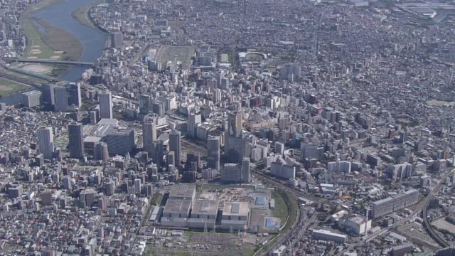 aerial downtown kawasaki city, kanagawa, japan - tokyo bay stock videos and b-roll footage