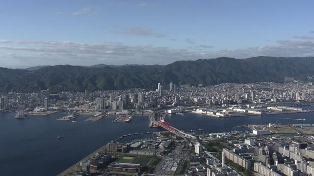 Aerial Downtown Kobe And Mt Rokko Japan