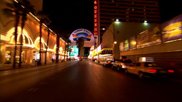 downtown las vegas at night - las vegas stock videos & royalty-free footage