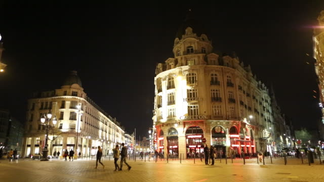downtown lille, france at night - lille stock videos & royalty-free footage