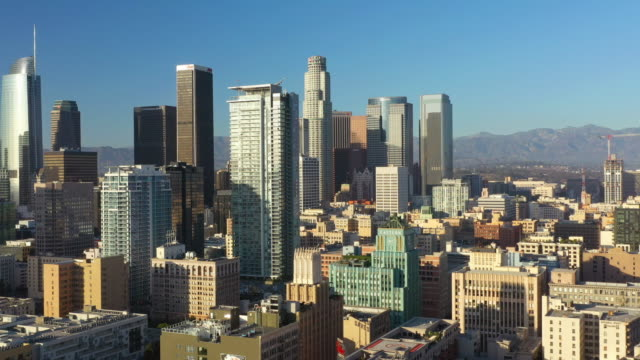 downtown los angeles aerial 4k - sunny stock videos & royalty-free footage