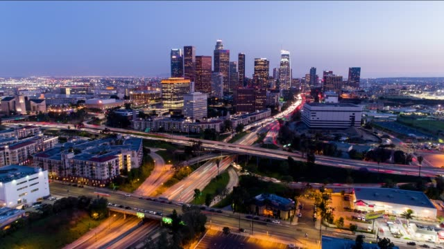downtown los angeles aerial time lapse day to night - city of los angeles stock-videos und b-roll-filmmaterial